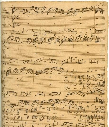 Manuscrit de deuxième Kyrie de la Messe en si mineur
