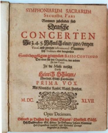 Autographe d'une partition de Heinrich Schütz